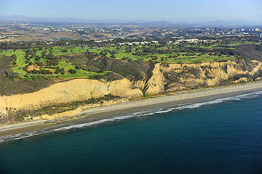 It's easy to spot the Torrey Pines Golf Course from the air.